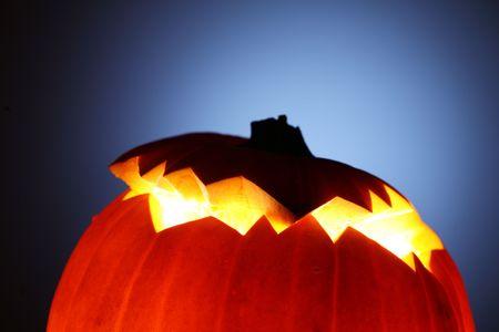 Glowing Jack-O-Lantern detail, close-up. Stock Photo - 5997645