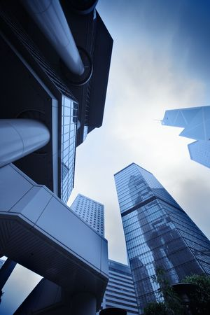 contrasty: Modern urban architecture. Skyscrapers in Hong Kong, China. Stock Photo