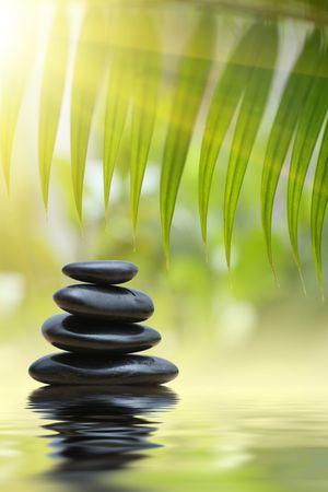 piedras zen: Hojas de bamb� de Grean sobre la pir�mide de piedras de zen que se refleja en la superficie del agua  Foto de archivo