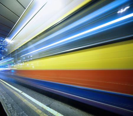 Abstract blurred motion background of moving fast bus Stock Photo - 6402649