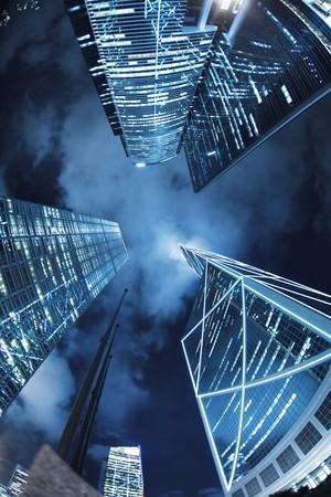 vanish: Hong Kong at night, view from below. Stock Photo