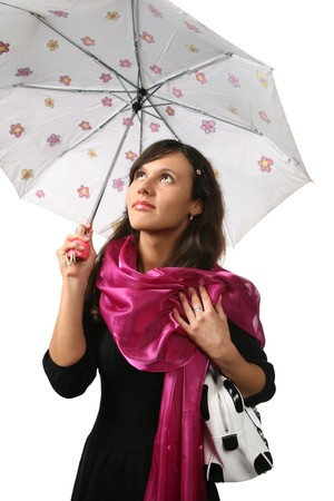 Beautiful young woman with umbrella against white background Stock Photo - 7660789