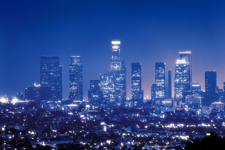 angeles: Downtown Los Angeles skyline at night Stock Photo