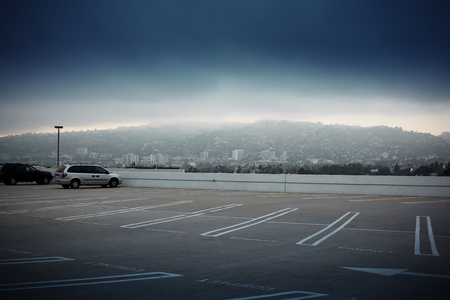 empty: Big empty parking lot space ontop of roof in Los Angeles, California. Stock Photo