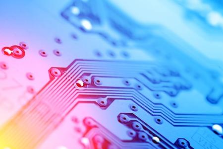 circuitos electronicos: Textura de fondo abstracto de la placa de circuito. Primer plano de la macro. Foto de archivo