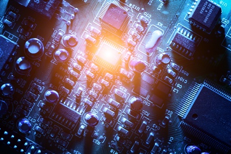 Circuit board abstract background texture. Macro close-up. Banco de Imagens