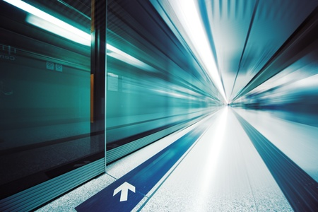 blur subway: Futuristic interior. Wide angle view. Stock Photo