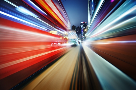 future city: Dynamic red and blue motion blur abstract background
