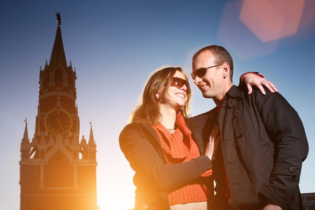 Young couple kissing at Red Square, Moscow, Russia Stock Photo - 8392833