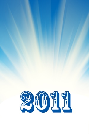 New 2011 year over abstract white rays and blue sky background. photo