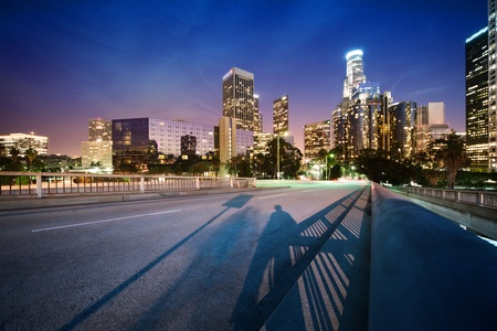 los angeles hollywood: Downtown Los Angeles at night Stock Photo