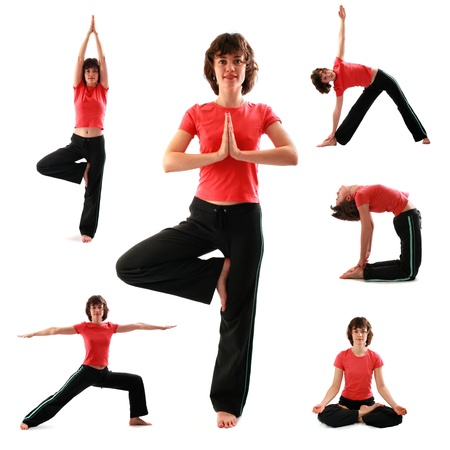 Set of yoga poses on white background photo