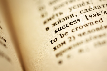 Definition of success in English Russian dictionary. Macro, shallow DOF.