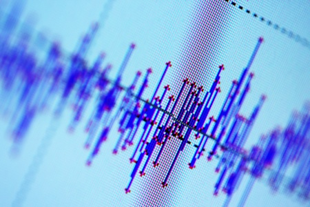 Audio, seismic or stock market wave diagram. Macro closeup, shallow DOF. 写真素材