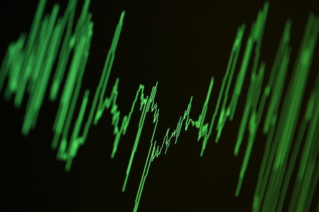 Audio, seismic or stock market wave diagram. Macro closeup, shallow DOF. Stock Photo - 9065171