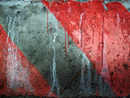 Grungy red and gray diagonal caution stripes background Stock Photo - 9143236