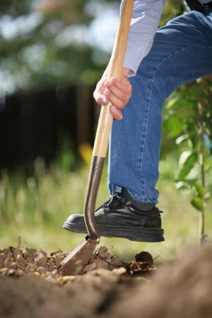 男シャベルで掘り春の土壌。クローズ アップ、浅い何も知らない。