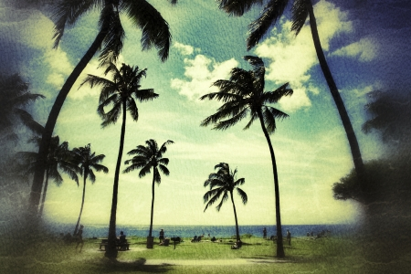 Palm trees at tropical beach in Hawaii over vintage grunge texture background