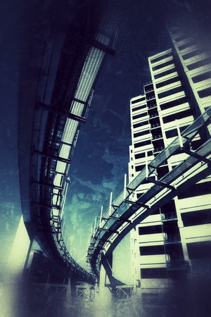 Futuristic monorail bridge around skyscrapers over vintage grunge texture background.