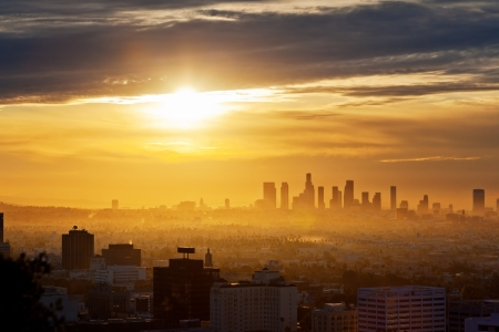 Los Angeles skyline at sunrise, view from Hollywood Hills.