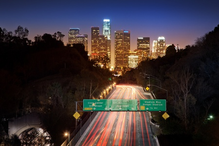 Downtown Los Angeles at night.