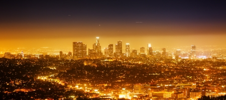 hollywood   california: Los Angeles cityscape panorama at night  Stock Photo
