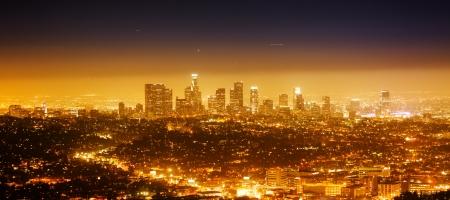 Los Angeles cityscape panorama at night  Foto de archivo