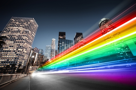 light trails: Colorful rainbow blurred bus traffic in Los Angeles