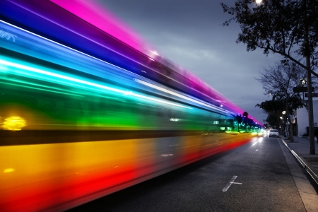speedy: Speeding bus, blurred motion  Santa Monica Blvd , West Hollywood, USA Stock Photo
