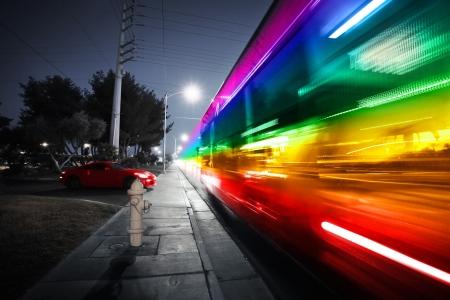 blvd: Speeding bus, blurred motion  Las Vegas Blvd , Las Vegas, USA  Stock Photo