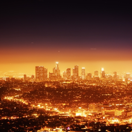 Los Angeles illuminated at night photo