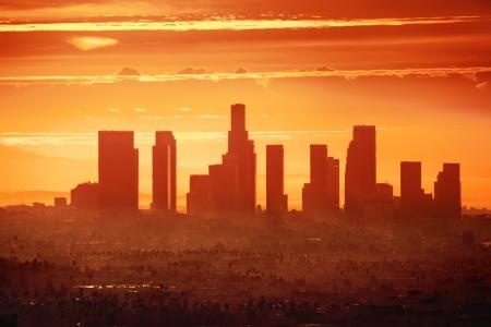 Zonsopgang boven het centrum van Los Angeles Stockfoto