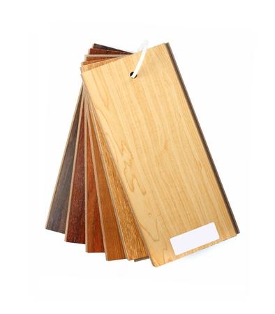 Ejemplo de paquete de suelo laminado de madera aislada sobre fondo blanco Foto de archivo - 16460532
