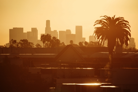 los angeles: Golden Los Angeles city skyline in morning. Stock Photo