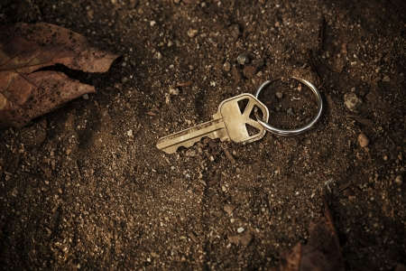 treasure trove: Metal key lost and found on soil ground.