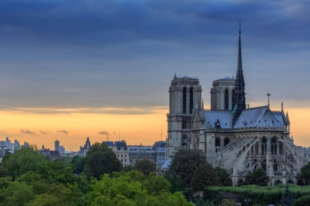 Notre Dame de Paris at twilight sunset. France. photo