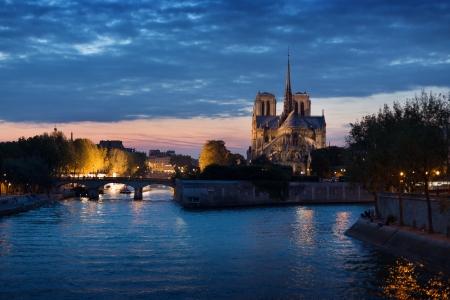 seine: Frankrijk, Ile-de-France, Seine, Ville de Paris, Parijs, Notre Dame de Paris 's nachts