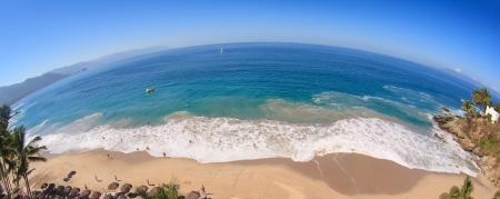 Tropical beach panorama, fisheye perspective. Pacific ocean, Mexico. Imagens