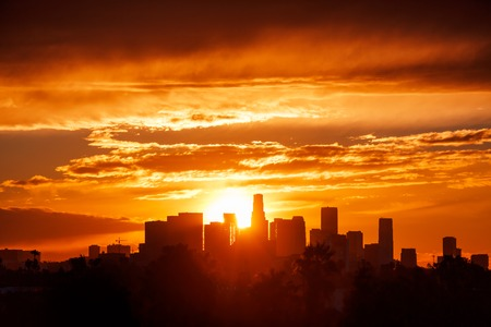 Los Angeles city skyline sunrise. Stock Photo