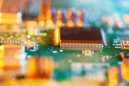 data processors: Processor chip on circuit board. Macro close-up, shallow DOF.