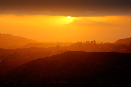Beautiful scenic sunset in Hollywood Hills, Southern California.
