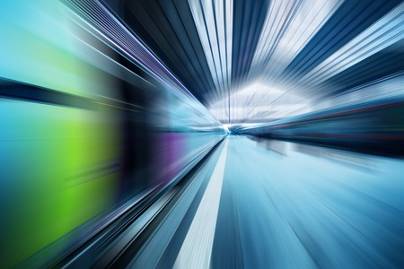 Abstract dynamic transportation blue background. Radial motion blur effect. photo