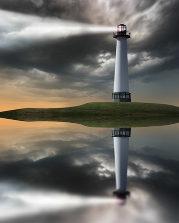 beaming: Lighthouse beaming light ray over stormy clouds.