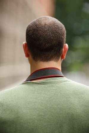 Portrait of incognito man, back view. 版權商用圖片