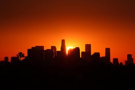 cityscape silhouette: Los Angeles city skyline sunrise. Stock Photo