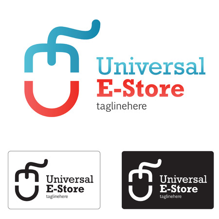 person computer: E store icon concept whit abstract e and u letter mouse.