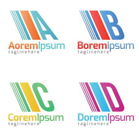 insurance themes: Alphabetical icon Design Concepts.