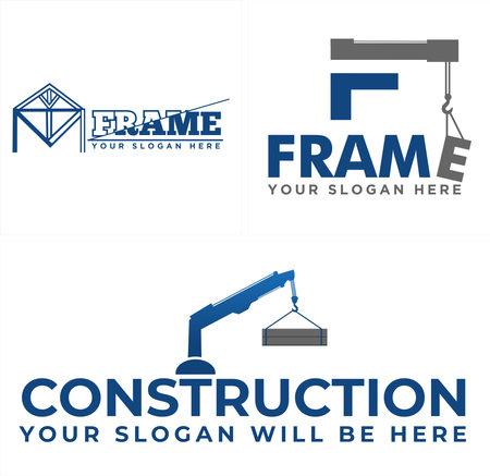 Construction building with icon crane logo design