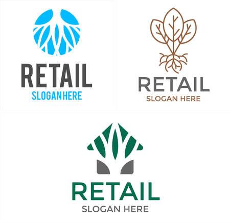 Natural organic herb leaf plant logo design