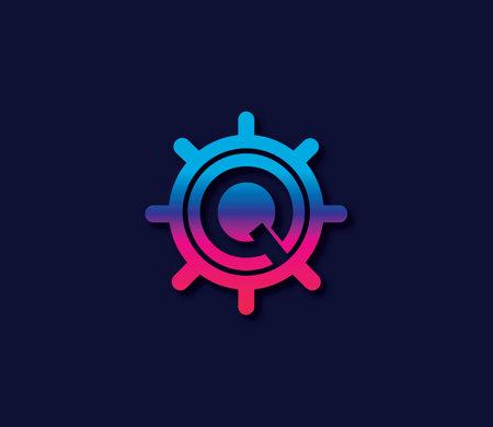 Q Alphabet Locker Logo Design Concept